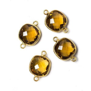 13x13mm Vermeil Bezeled Whiskey Quartz faceted pillow Connector 1 piece - Beadsofcambay.com