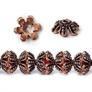 13x5mm Antiqued Copper Flower Bead Cap 8 inch 44 pcs - Beadsofcambay.com