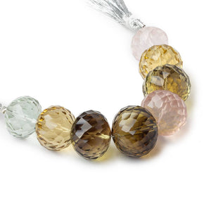 14mm - 16mm Multiple Quartz Concave Faceted Rondelles 4 inch 8 beads AAA - Beadsofcambay.com
