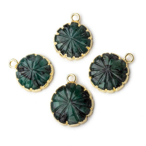 14mm 22kt Gold Leafed Brazilian Emerald carved floral coin Pendant 1 focal bead - Beadsofcambay.com