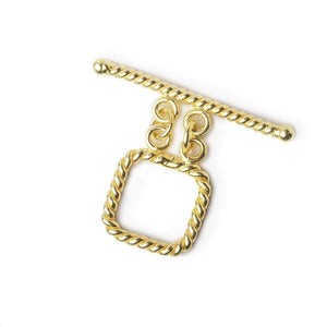 14mm Vermeil Double Strand Toggle Twisted Rope Square 1 Finding - Beadsofcambay.com