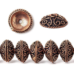 14x5mm Antiqued Copper Bead Cap with Heart Shape Miligrain Scroll 8 inch 40 pcs - Beadsofcambay.com