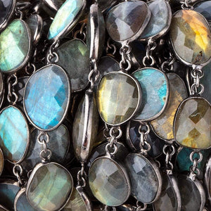 15-18mm Labradorite Nuggets Black Gold .925 Bezeled Chain by the Foot - Beadsofcambay.com