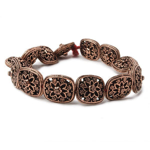 15x13x8mm Copper Miligrain and Floral Cushion 8 inch 14 pcs - Beadsofcambay.com