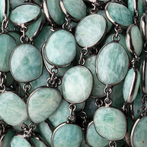 15x14mm Amazonite Nuggets on Black Gold .925 Bezeled Chain by the Foot - Beadsofcambay.com