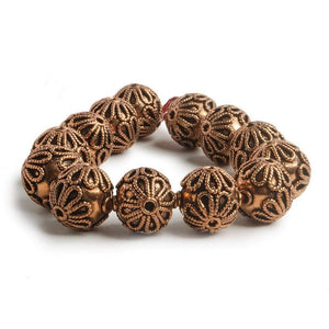 16mm Copper Roval Bead with Twisted Rope Floral Design 8 inch 13 pcs - Beadsofcambay.com