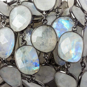 16x14mm Rainbow Moonstone nugget Oxidized Silver .925 Bezeled Chain by the foot 12 pcs - Beadsofcambay.com