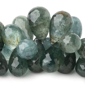 18.5-27mm Moss Aquamarine Faceted Tear Drops 7 inch 38 Beads AA - Beadsofcambay.com