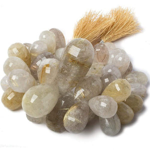 18x11-43x22mm Rutilated Milky Quartz Tear Drop Beads 8.5 inch 44 pieces - Beadsofcambay.com