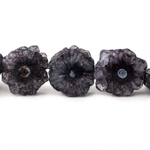 19-21mm Blue Black Solar Quartz Straight Drilled Slice Beads 8 inch 10 pieces - Beadsofcambay.com