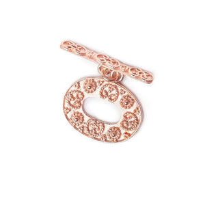 21x16mm Rose Gold plated Sterling Silver Oval Granulated & Floral Toggle 1 piece - Beadsofcambay.com