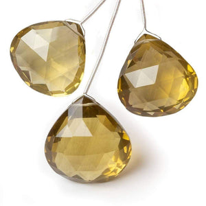 24x25-28x29mm Honey Quartz Faceted Heart Focal Bead Set of 3 - Beadsofcambay.com
