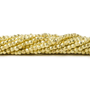 2.5mm 14kt Gold plated Brushed Faceted Nugget Beads 8 inch 86 pieces - Beadsofcambay.com