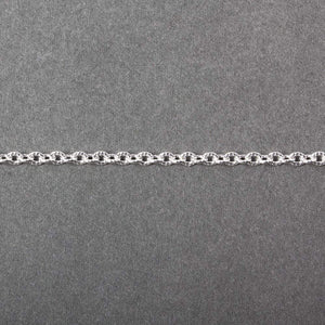 2.5mm Silver plated Small Corrugated Oval Link Chain by the Foot - Beadsofcambay.com