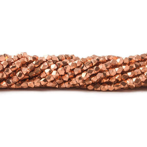 2.5x2mm Copper Faceted Nugget Plain Bead 8 inch 85 beads - Beadsofcambay.com