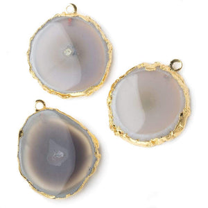 28x28mm Gold Leafed Natural Stalactite Solar Quartz Coin Pendant 1 piece - Beadsofcambay.com