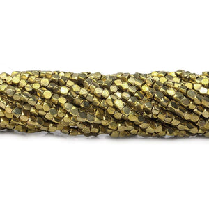2mm Brass hand polished faceted nugget beads 8 inch 96 pieces - Beadsofcambay.com