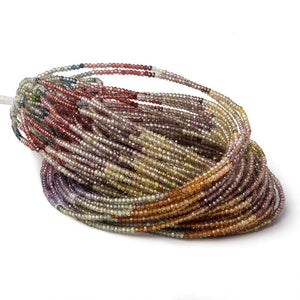 2mm Multi Gemstone micro faceted rondelle beads 17 inch 285 pieces AAA - Beadsofcambay.com
