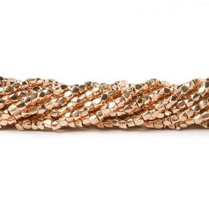2mm Rose Gold plated Copper Hand Polished Faceted Nugget Beads 8 inch 90 pieces - Beadsofcambay.com