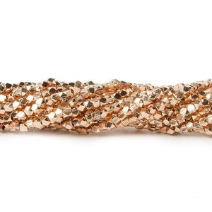 2mm Rose Gold plated Plain Faceted Nugget Bead 8 inch 84 beads - Beadsofcambay.com