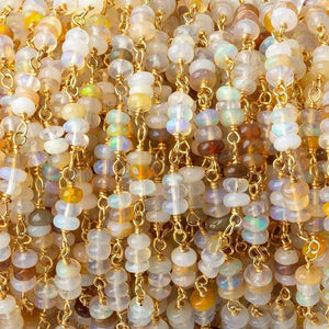 3-3.5mm Ethiopian Opal faceted rondelle clusters Vermeil Chain by the foot 84 beads - Beadsofcambay.com