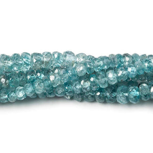 3-4.5mm Blue Zircon faceted rondelle beads 16 inch 186 pieces A - Beadsofcambay.com