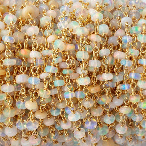 3-4mm Ethiopian Opal Plain Rondelles on Vermeil Chain by the Foot 40 Beads - Beadsofcambay.com