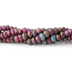 3-5mm Ruby in Zoisite Faceted Rondelle Beads 17 inch 190 pieces - Beadsofcambay.com