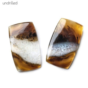 34x20x4mm Cream & Brown Agate with Drusy Plain Rectangle Gem Quality Focal Set of 2 - Beadsofcambay.com