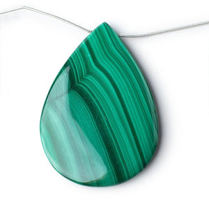 34x24-60x41mm Malachite Plain Pear Briolettes 6.5 inch 5 Beads - Beadsofcambay.com