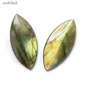 35x16x4mm Labradorite Gem Quality Pavilion Facet Marquise Focal Set of 2 - Beadsofcambay.com