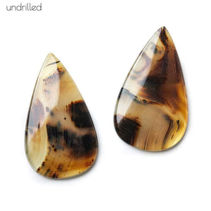 36x21x3mm Cream & Brown Agate Plain Pear Gem Quality Focal Set of 2 - Beadsofcambay.com
