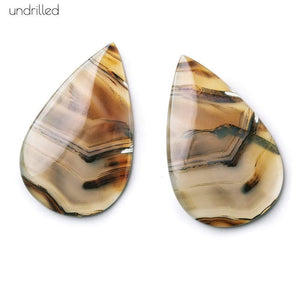38x24x3mm Cream & Brown Agate Plain Pear Gem Quality Focal Set of 2 - Beadsofcambay.com