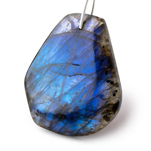 38x36mm Blue Flash Labradorite Plain Fancy Shape Focal Bead 1 piece - Beadsofcambay.com