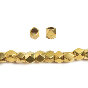 3mm Brass hand polished faceted nugget beads 8 inch 74 pieces - Beadsofcambay.com