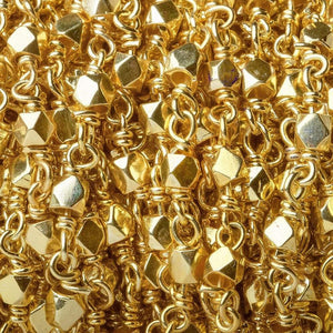 3mm Gold plated hand polished Faceted Nugget Chain by the foot 34 pcs - Beadsofcambay.com