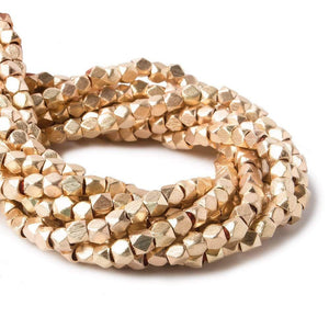 3mm Rose Gold plated brushed faceted nugget beads 8 inch 75 pieces - Beadsofcambay.com