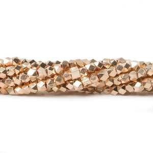 3mm Rose Gold plated Plain Faceted Nugget Bead 8 inch 66 beads - Beadsofcambay.com