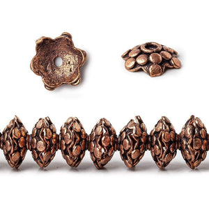3x11mm Antiqued Copper Polka Dots On Snowflake Shape Bead Cap 8 in 64 pcs - Beadsofcambay.com