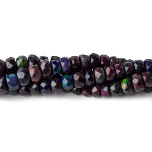 4-5.5mm Ethiopian Wollo Black Opal faceted rondelles 145 beads 16 inch AA - Beadsofcambay.com