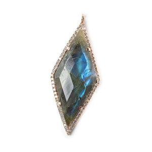 40x18mm Rose Gold Bezel CZ & Labradorite Faceted Kite Marquise Pendant 1 focal bead - Beadsofcambay.com