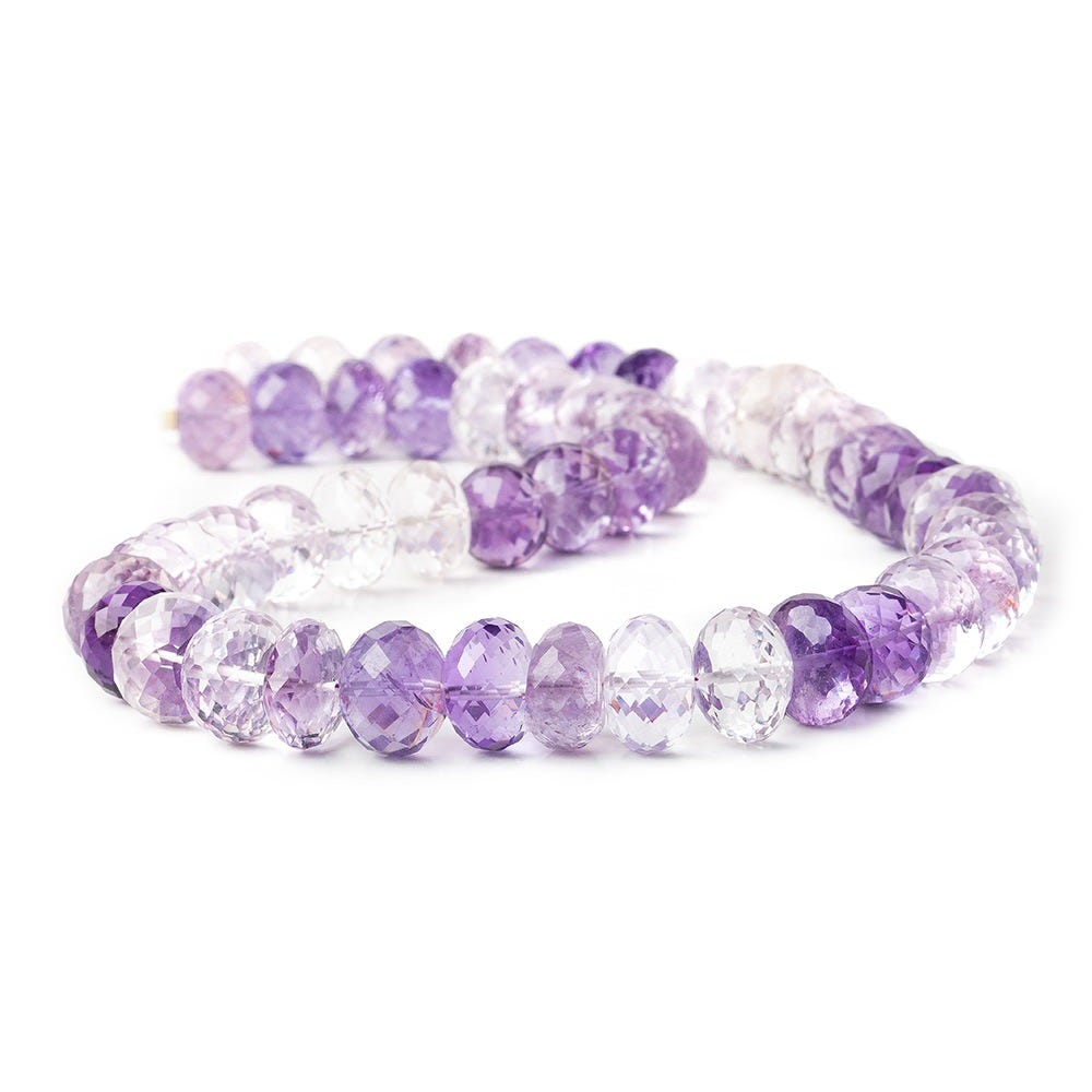 Pink Amethyst Rondelle Beads 12mm-14mm 16.5 Inches BR1481 1 Strand Pink Amethyst Faceted Rondelle