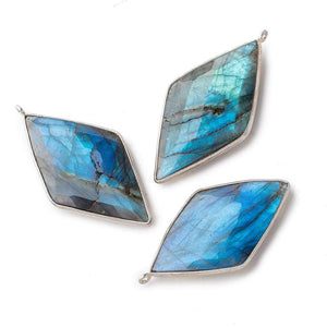 45x24mm .925 Silver Bezeled Labradorite Faceted Kite Pendant 1 Piece - Beadsofcambay.com