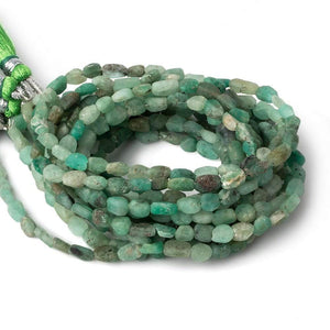 4.5x4-6x4.5mm Matte Colombian Emerald tumbled plain nuggets 12 inch 54 beads A - Beadsofcambay.com