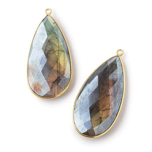 46.5x24mm Vermeil Bezeled Mystic Labradorite Faceted Pear Pendant 1 pc - Beadsofcambay.com