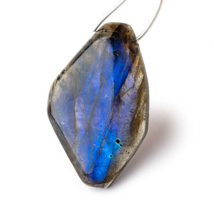 46x30mm Neon Blue Flash Labradorite Plain Fancy Shape Focal 1 Bead - Beadsofcambay.com