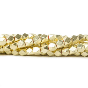 4mm 14kt Gold plated Copper Brushed Faceted Nugget Beads 8 inch 45 pieces - Beadsofcambay.com