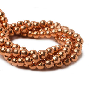 4mm Copper Plain Round 8 inch 51 pcs - Beadsofcambay.com