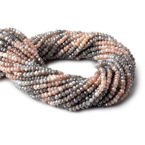 4mm Mystic Peach & Grey Moonstone faceted rondelle beads 13 inch 119 pieces - Beadsofcambay.com