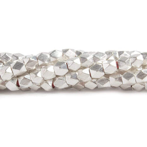 4mm Sterling Silver plated Copper Brushed Faceted Nugget Beads 48 beads 8 inch - Beadsofcambay.com